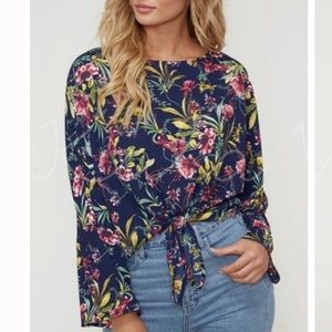 Tops - NWT Navy Floral Tie Front Long Sleeve Blouse   L